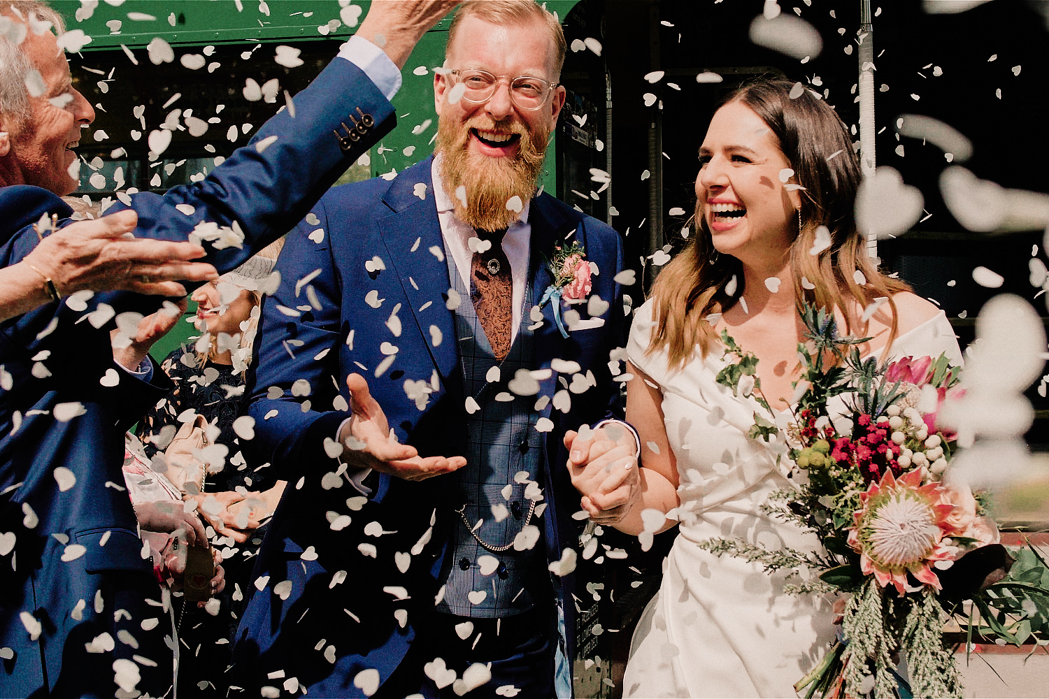 Dublin wedding couple in a whirlwind of confetti