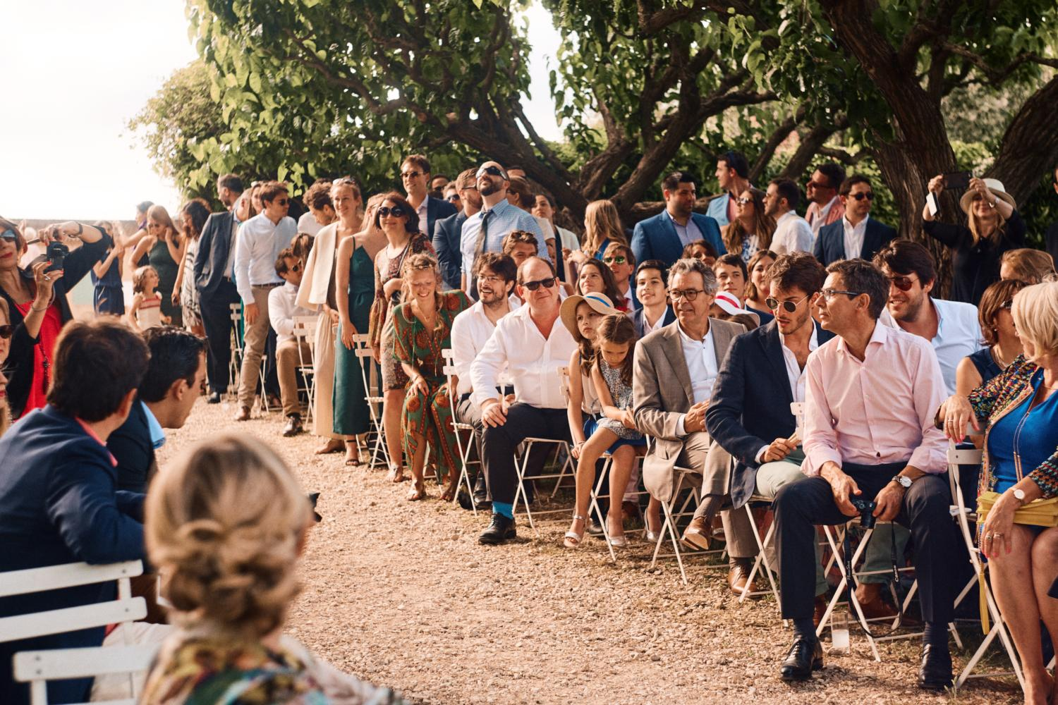 Wedding guests await couple at Chateau Val Joanis