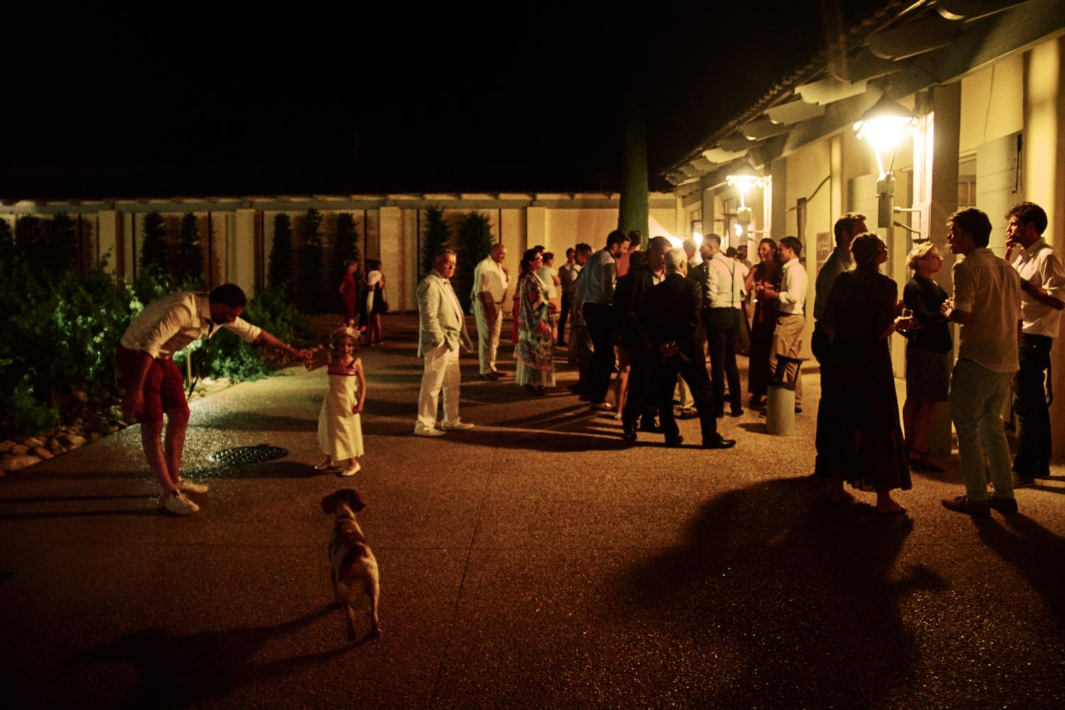 Late-night outdoor scene at Chateau Val Joanis with guests and a dog