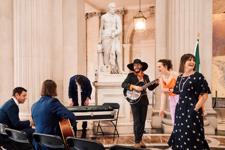 Musicians practice at a Dublin City Hall wedding