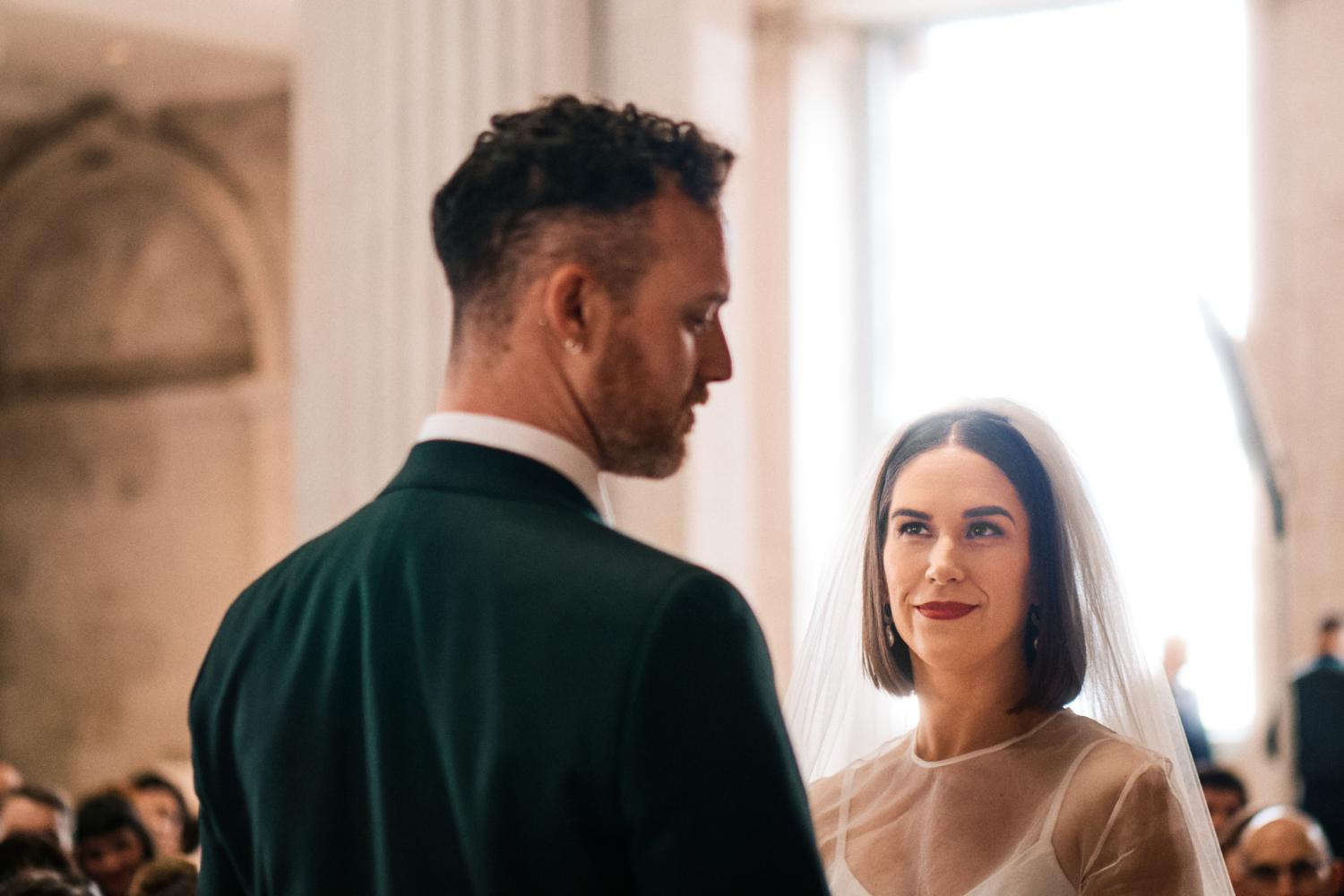 A bride speaks her vows during a Humanist wedding at Dublin City Hall