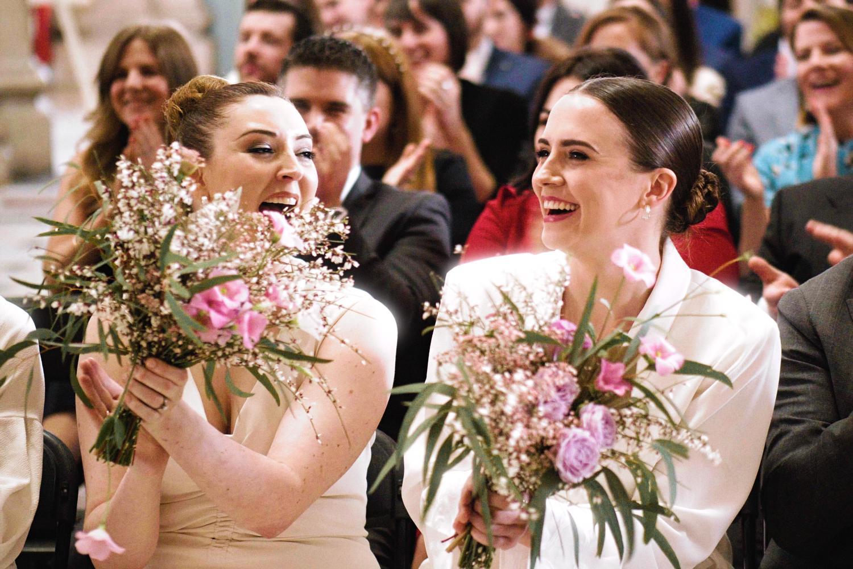 Bridesmaids hold flowers at a Dublin City Hall wedding