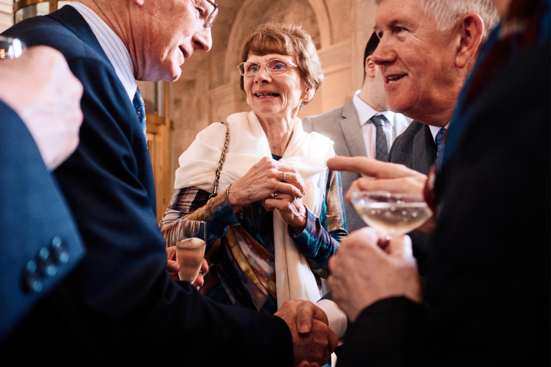 Guests mingle at a Dublin City Hall wedding