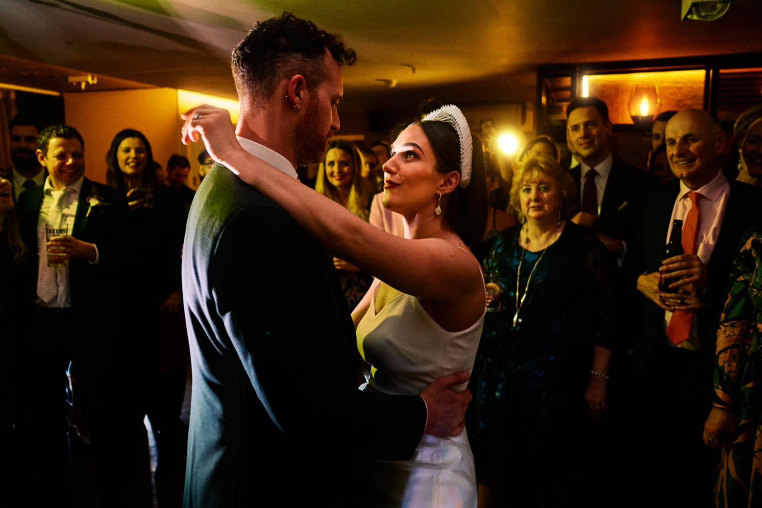 A couple have their first dance at Dublin City Hall