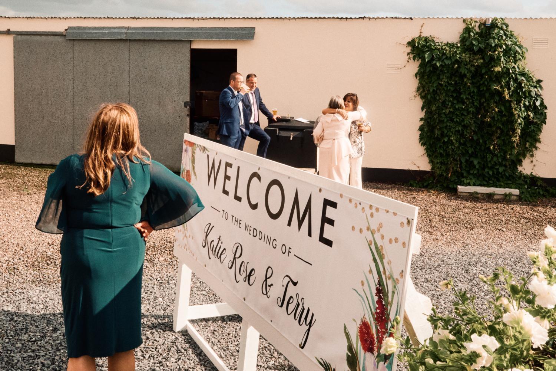 Guests at a garden wedding reception