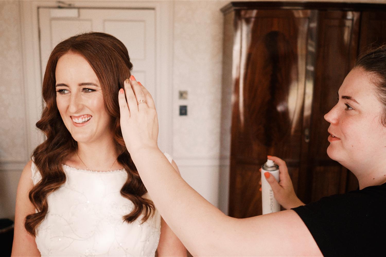 Bride getting ready at Farnham Estate