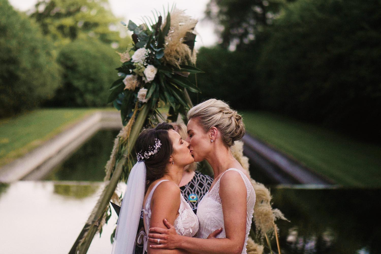 Same sex couple kiss at Balltintubbert wedding, Ireland