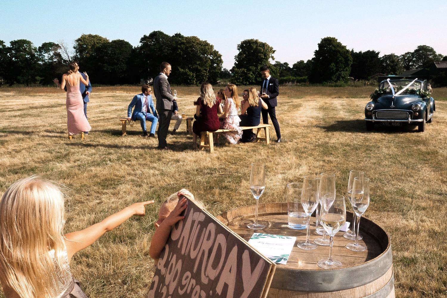 Wedding scene at a marquee reception