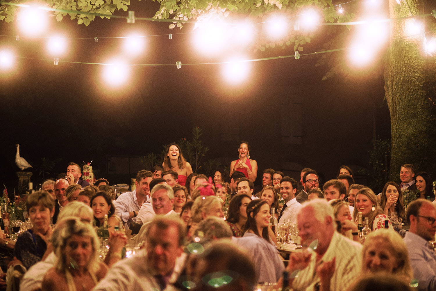 Wedding guests laugh during outdoor speeches